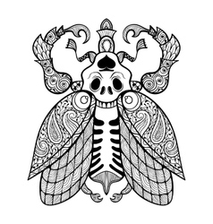 Coloring page of bug with skull zentangle vector