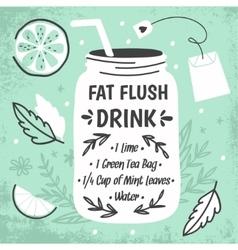 Detox fat flush water recipe vector