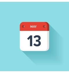 May 13 isometric calendar icon with shadow vector