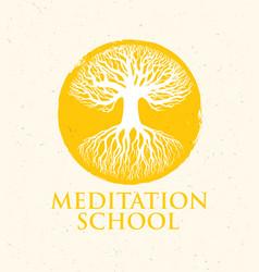 Meditation school creative concept on vector