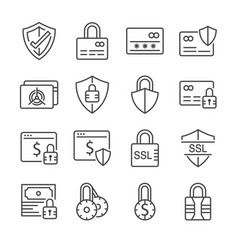 secure payment icon set vector image