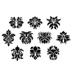 Vintage black floral design elements in damask vector image