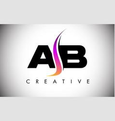 Ab letter logo design with creative shoosh vector