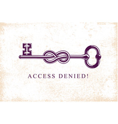 Access denied knotted key allegorical symbol vector