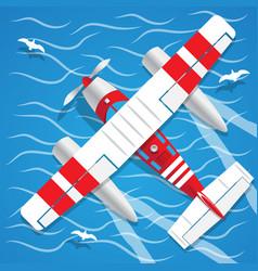 Amphibian seaplane vector