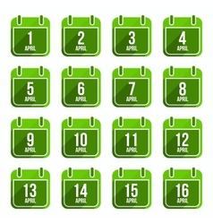 April flat calendar icons Days Of Year Set 13 vector image