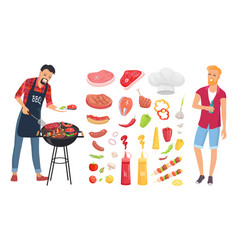 bbq barbecue veggies icons set vector image