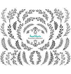 Big set hand drawn flowers and branches vector