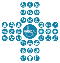 Blue Medical and health care Icon collection vector image