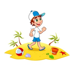 Boy is walking on the sand vector