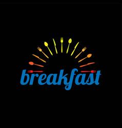 breakfast restaurant with sunrise spoon fork vector image