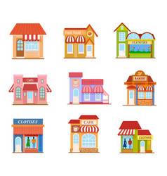 Building flat style set vector