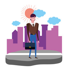 Businessman avatar with suitcase design vector
