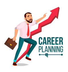 businessman career planning fast success vector image