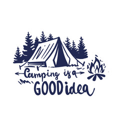 camping in nature with fir trees and a bonfire vector image
