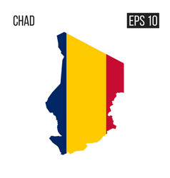 chad map border with flag eps10 vector image