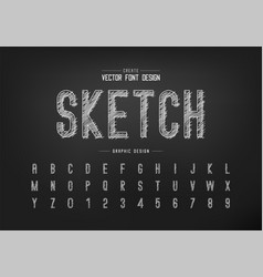 chalk font and alphabet hand draw letter vector image
