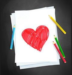 child drawing heart shape vector image