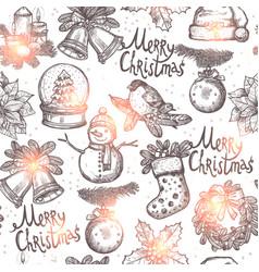 christmas monochrome seamless pattern vector image