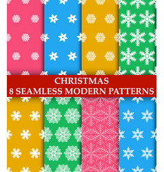 christmas snowflakes 8 seamless modern patterns vector image