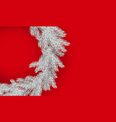 christmas white branch of spruce on red background vector image
