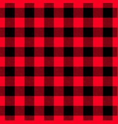 Classic lumberjack plaid pattern in red and black vector