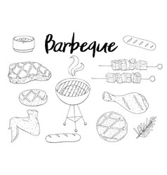 collection of bbq objects set of barbecue vector image