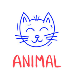 colorful doodle cat in trendy style little animal vector image