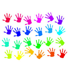 colorful hand print on white background vector image