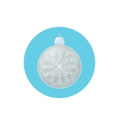 Colorful Icon Christmas Silver Ball with Snowflake vector image