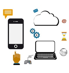 computer network cloud mobile vector image