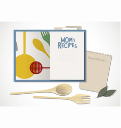 Cookbook with moms recipes wooden spoon and fork vector