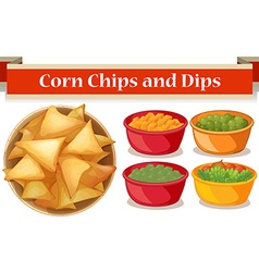Corn chips and four kind of dips vector