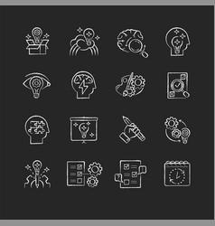 Creativity chalk white icons set on black vector