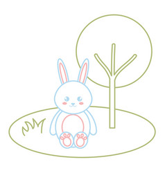cute and tender rabbit in the park character vector image