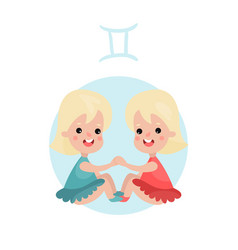 cute little girl as gemini astrological sign vector image