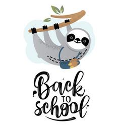 Cute sloth bear animal with a school bag vector