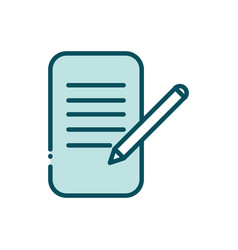 document pen writing social media line and fill vector image