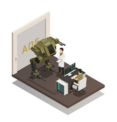 Fighting robots isometric design concept vector
