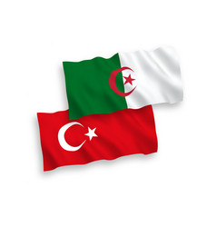 Flags turkey and algeria on a white background vector