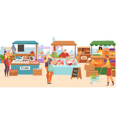 food market sale stalls local farmer butcher vector image