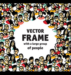 frame with big group happy people vector image