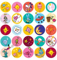 Fun cartoon characters circles vector