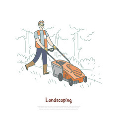 gardener mowing lawn handyman cutting grass vector image
