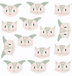gentle cats seamless kids pattern in it is vector image
