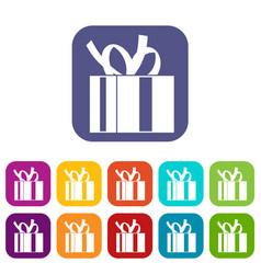 Gift box with ribbon icons set vector