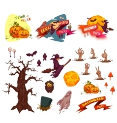 Halloween party set elements Banners and vector image