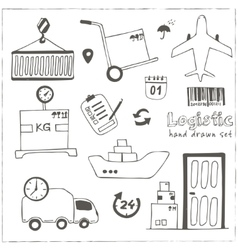 Hand drawn logistics and delivery sketch icons set vector image