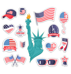 happy american flag day bright stickers collection vector image