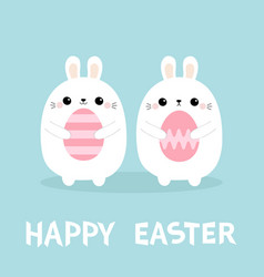 Happy easter rabbit bunny family set holding vector